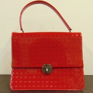 Arcadia Italian Red Patent Leather Purse with logo